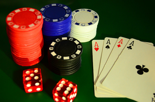 Chips All In - Four Of A Kind - Poker Hand